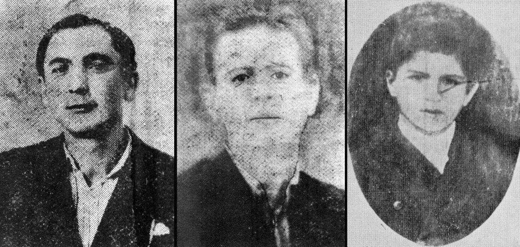 Οι νεκροί της 25ης Μαρτίου 1945 Ανδρέας Εξηντάρης, Ανδρόνικος Κυπριανού και Μιχαλάκης Κουρτέλλας