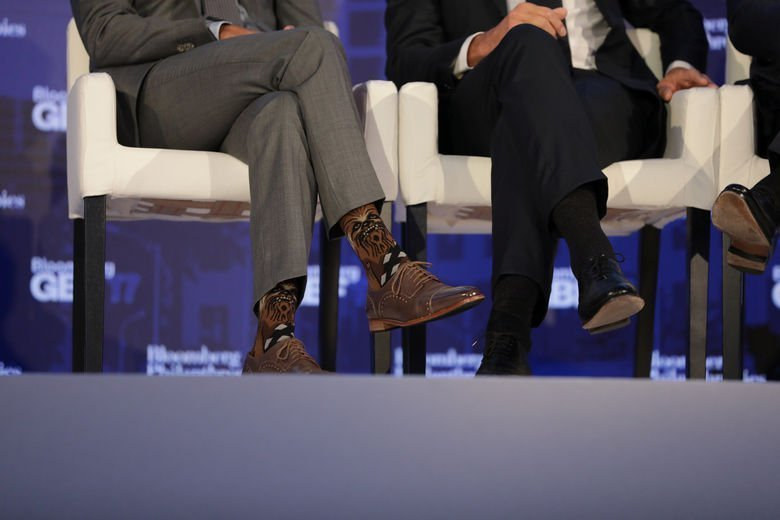 Justin Trudeau, Prime Minister of Canada, wears Chewbacca socks while participating in a panel discussion at a Bloomberg Global Business Forum panel event in New York