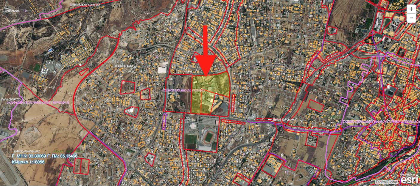 Η περιοχή της Κρατικής Έκθεσης στην Έγκωμη. Το φιλέτο είναι 202,586 τ.μ και βρίσκεται σε Ζώνη Δημοσίων και άλλων Αστικών/Κοινοτικών Χρήσεων