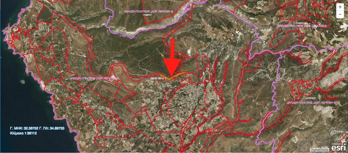 Φιλέτο στην Πέγια με εμβαδόν 78,931 τ.μ. Το μεγαλύτερο μέρος βρίσκεται σε Οικιστική Ζώνη, ενώ το υπόλοιπο βρίσκεται σε Ζώνη Προστασίας.
