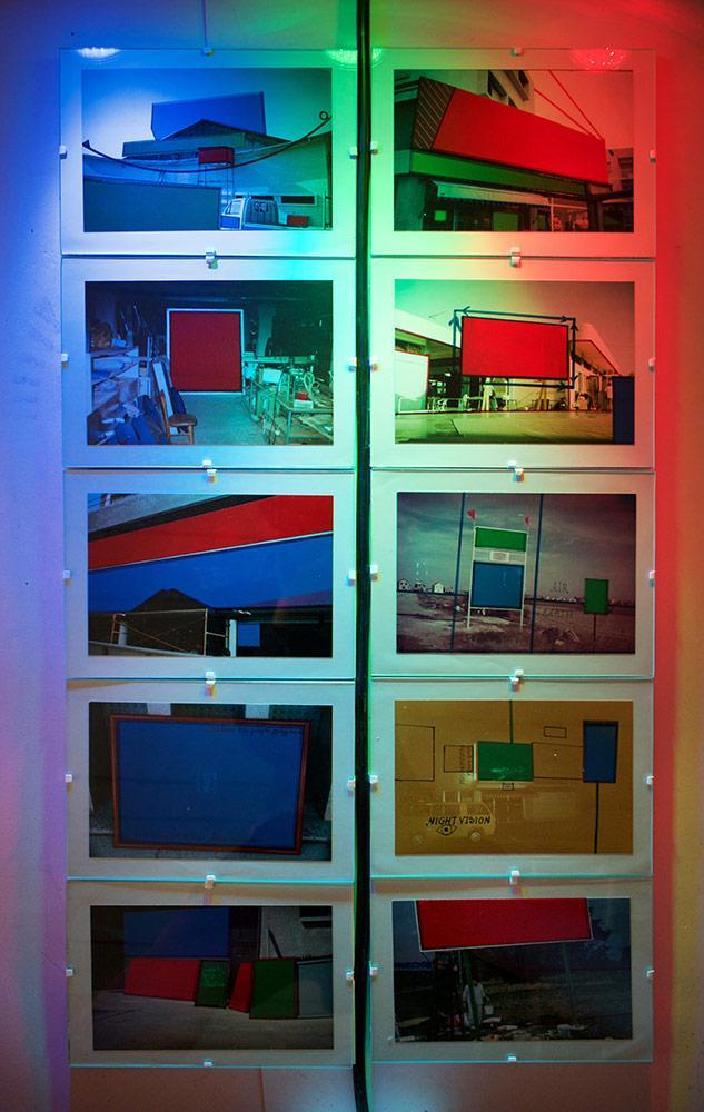 """Ειρήνη Κωνσταντίνου, """"Sign Maker"""", mixed media on old photographs/interactive light installation, dimensions variable, 2017"""