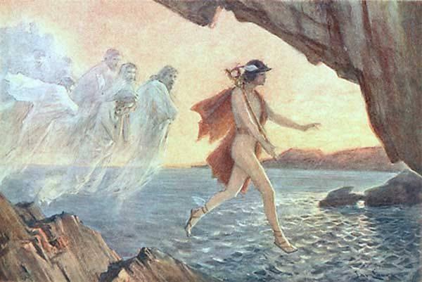 Ο ψυχοπομπός Ερμής μεταφέρει ψυχές στον Άδη.