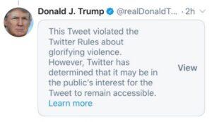 """Δολοφονία Τζορτζ Φλόιντ: Το Twitter """"έκοψε"""" το tweet του Τραμπ"""