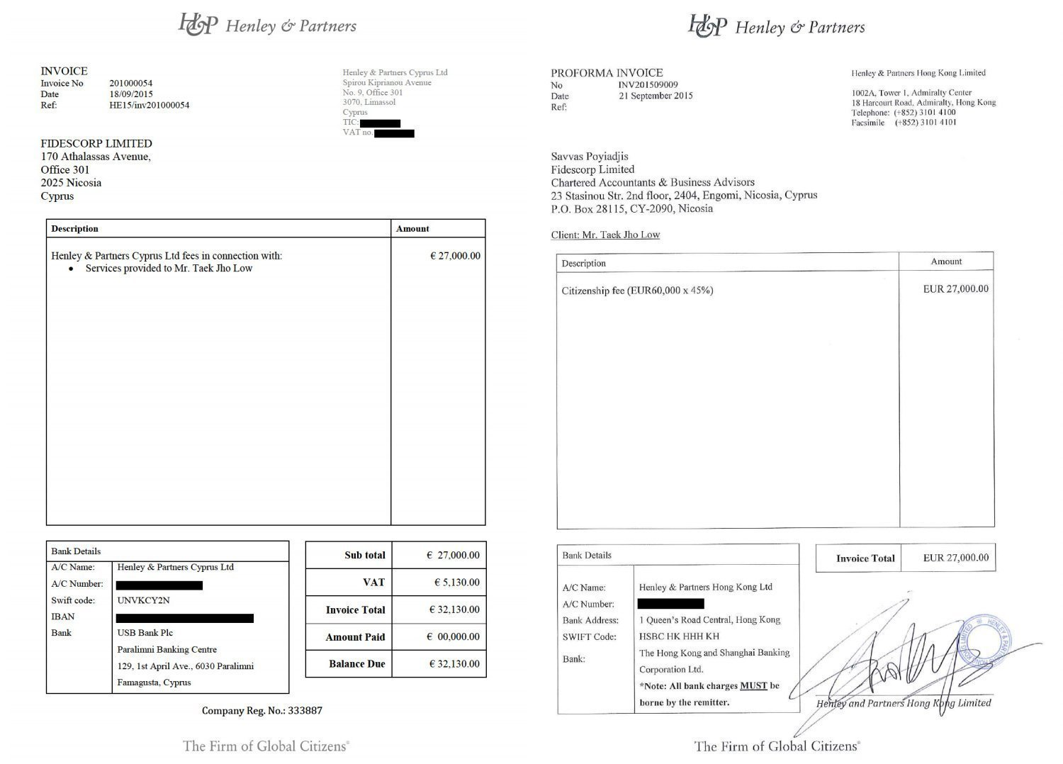 Invoices Issued by Henleys Subsidiaries2